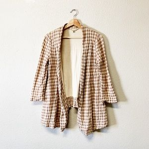 Anthropologie Knitted Knotted Gingham Cardigan